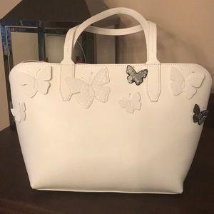 Mondani white butterfly handbag